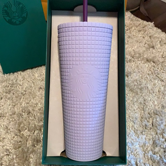 Starbucks Venti Lilac grid tumbler.